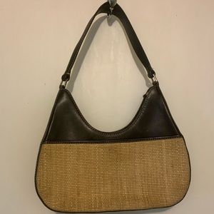 Ann Taylor leather and woven straw summer bag.